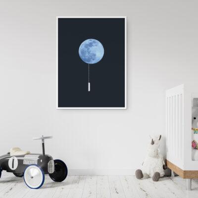bedroom print, wallet, photo art, interieur poster print, maan, licht