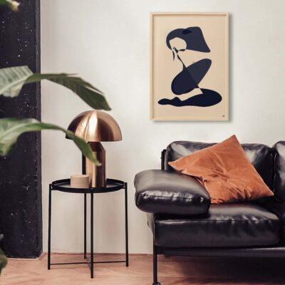 female nude, naakte vrouw illustratie abstract slaapkamer kunst woonkamer kunst print