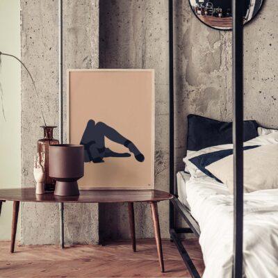illustratie voor de slaapkamer, naakte vrouw, liggend, relaxing
