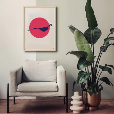 woman centre in red circle, sensual abstract art, minimal illustration, modern art